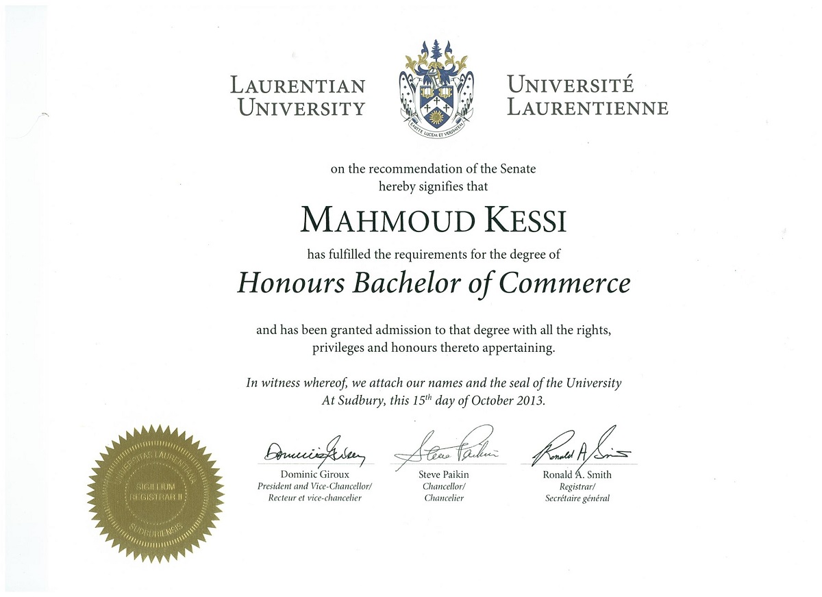 Honours Bachelor of Commerce Certificate